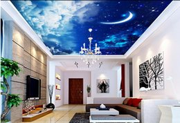 3d flocking wallpaper Coupons - Non woven wallpaper moon ceiling Home Decoration wallpaper 3d mural 3d wallpaper living room