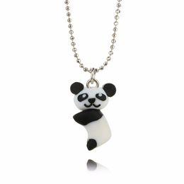 Слон свиньи онлайн-Shellhard Statement Jewelry Women Cute 3D Cartoon Animal Elephant Pig Panda Polymer Clay Necklace Choker Chain Kids Girls Gift