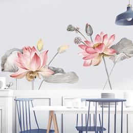 Décor de salle de bain chinois en Ligne-DIY Lotus Salon Salle De Bains Décoration Vinyle Stickers Muraux Vintage Affiche Chinois Style Fleur Home Decor Murale D19010902