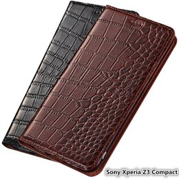 Teléfono sony xperia z3 compacto online-Estuche ultra delgado para Sony Xperia Z3 Funda de lujo genuina compacta de cuero para Sony Xperia Z3 Estuche compacto con ranura para tarjeta
