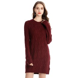 ladies long jersey Coupons - 2019 Autumn & Winter Women Knitting Sweater Pullover Plus Size Female Clothes Office Lady Streetwear Long Jumpers Jersey dress