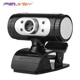 luz de cabeça de vídeo Desconto FELYBY A7260 HD 720 P câmera de vídeo do computador com luz LED suporte de rotação da cabeça microfone embutido