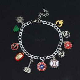 braccialetti a forma di oro Sconti Avenger Alliance Manwei Bracciale Circle Superhero Charm Chain Bracelet Supereroe Thor Iron Man Captain America Combinazione LJJA2596