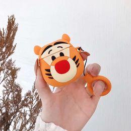 3d fall tiger Rabatt Dhl 3d cartoon tiger kopfhörer abdeckung weichen silikon case für airpods case lade drahtlose bluetooth anti-verlorene schützen kopfhörer shell