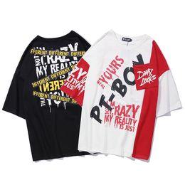 2019 мужской личный 2019 Мужская уличная одежда Личное письмо с набивным рисунком Harajuku Свободные футболки с коротким рукавом Хип-хоп Мужская хлопковая повседневная футболка скидка мужской личный