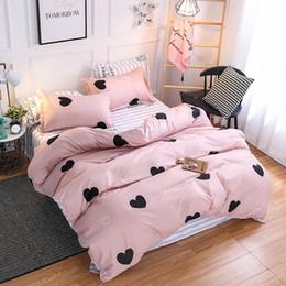 Ropa de cama chica soltera online-3 Unids / set Pink Heart Bedding Set Belces Milagros Single Double Queen King Bed Funda Nórdica Animal para Niños Niñas colchas