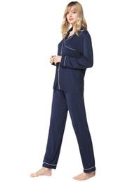 Mujeres Acogedoras Modal Pijamas Botón de manga larga Tops + Cordón Pantalones largos Pijama Pijamas Ropa de dormir para mujeres Home Wear 2019 Nuevo desde fabricantes