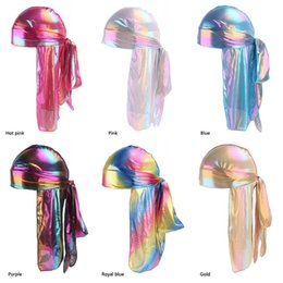 hair dome Promo Codes - 50pcs Colorful Sparkly Durags Turban Bandanas Men's Shiny Silky Durag Headwear Headbands Hair Cover Wave Caps