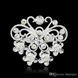 Piccoli spille di cristallo online-Spille natalizie Splendidamente mix di gioielli Design argento piantato chiaro cristallo di strass piccole dimensioni fiore bouquet spille spille da sposa