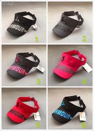 Пляжные солнцезащитные козырьки для женщин онлайн-Unisex UA Sun Visor Hat Под Пустыми Верхними Шапками Мужчины Женщины Открытый Гольф Теннис Пляж Оголовье Спорт Snapback Бейсбол Дизайнер Шляпа B61301