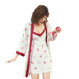 bath robes set Promo Codes - Spring NEW Womens 2pcs Robe Suit Sleepwear Casual Home Wear Pajamas Sexy Nightwear Sleep Kimono Bath Gown Sets