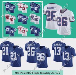 facc54341 Mens 26 Saquon Barkley Gaints Jersey 13 Odell Beckham Jr New York 10 Eli  Manning 15 Brandon Marshall 21 Landon Collins 87 Simms jerseys