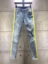 2019 männer holey jeans 2019 Mens Lochjeans Neue Modedesigner-dünner Mens riss Biker-beiläufige Hosen Hip-Hop-Jeans Denim-lange Hosen