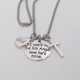 collar de llaves cruzadas Rebajas Alas cruzan el collar de la cadena llavero carta de impresión corazón collares personalizar llavero moda collar de plata para mujeres hombres regalo DBC VT1744