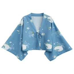 kimono japonés azul Rebajas Escudo de gato Azul Kimono japonés Cardigan Abrigo con cuello en v Cuello completo Manga completa Kimono Yukata Primavera Cardigan de las mujeres Outwear