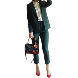 Veste vert foncé femme s en Ligne-Pure Boy friend Jacket neuf pantalons de longueur vert foncé / noir élégant séduisant femme office lady costume femme