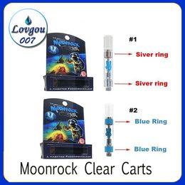 Argentina Nuevo Moonrock Clear Carts Vape Cartuchos 1.0 ml Tanque de vidrio 510 Bobina de cerámica Grueso Aceite Atomizador Moon Rock Vaporizador 7 Etiqueta de sabor DHL Suministro