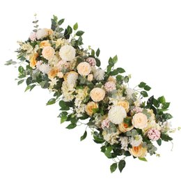 Silk flower arrangements online-Peonie di seta artificiale di alta qualità Rosa disposizione di fila di fiori forniture per matrimonio arco centrotavola centrotavola forniture fai da te