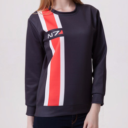 Sweat-shirt à effet massif n7 en Ligne-Mass Effect 3 N7 top manteau vêtements cosplay costume noir Hoodies re-make Harajuku Sweatshirt Mass Effect 3 cosplay