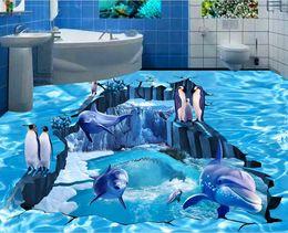 PVC autoadhesivo impermeable 3D murales del piso Ocean Dolphin piso diseño foto de la pared etiqueta de papel baño cocina decoración para el hogar Papel De Parede desde fabricantes