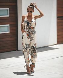 Un pezzo jumbo floreale online-Open Back Tether Pocket Sling V-Neck Female Jumpsuit Floral Print Belt Wild One-Piece Trousers rompers womens jumpsuit