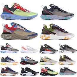 Zapatillas baratas online-Barato React Element 87 x Zapatillas de correr encubiertas Zapatillas de deporte de diseño Calzado deportivo para hombres Mujeres Multi propósito Entrenadores Tamaño 36-45