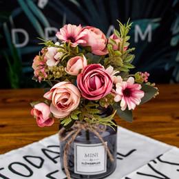 Peonies bud on-line-Artificial Silk Flowers Peony Bouquet para decoração de casamento Falso Flores Início Decoração Pérola Bud Bouquet grinaldas Atacado