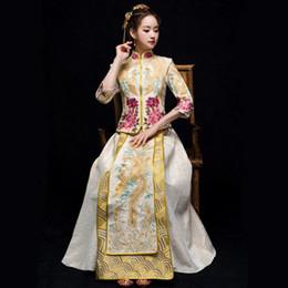 Vestidos de noche clásicos de china online-Mujeres antiguas chinas Qipao clásico Vintage Phoenix Cheongsam Vestidos Noble Vestido de novia femenino Vestidos de noche elegantes
