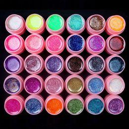 Rosa glitzer nagelspitzen online-30 STÜCKE Glitter Mix Farben UV Builder Gel Acryl Set für Nail Art Tips Pink Neu