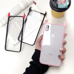Iphone acrylique tpu noir en Ligne-3D cas de téléphone cornes de diable de luxe pour iPhone 6 6s 7 8 plus X XR XS Max mignon noir acrylique rouge