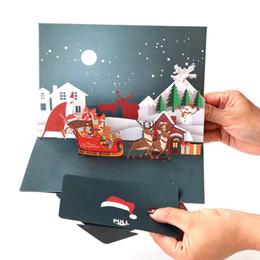 animação de desenho animado de casamento Desconto Atacado cartão de Natal DIY handmade 3D ano novo cartões de visita para presentes frete grátis