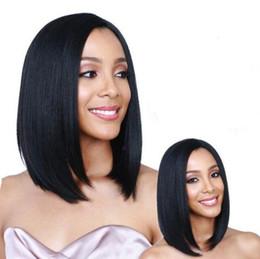 2019 cabelo de bobo Moda feminina preto curto cabelo liso Bobo Estilo de Cabelo Preto Curto Peruca Cosplay para Moda Feminina Natural Perucas Sintéticas desconto cabelo de bobo