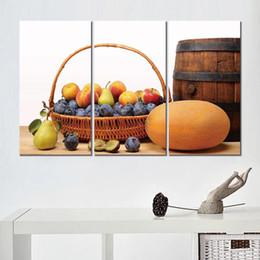 Sans cadre 3 ensembles imprimer peintures panier pommes pommes fruits prunes melons keg pêches pêches toile arts images pour la décoration de salon ? partir de fabricateur