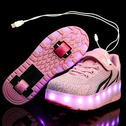 2021 roues luminescentes Enfants One Two Wheels lumineux rougeoyant Sneakers Rouge Rose Led Lumière Chaussures Enfants Patins à roulettes Led Chaussures Garçons Filles USB Charging promotion roues luminescentes
