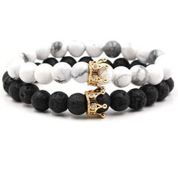 2019 braccialetto dei braccialetti dei braccialetti NUOVI branelli di pietra bianchi neri con il braccialetto di fascino della corona di colore dell'argento dell'oro per la pulsera dei gioielli dei braccialetti dei braccialetti degli uomini delle donne DropShipping