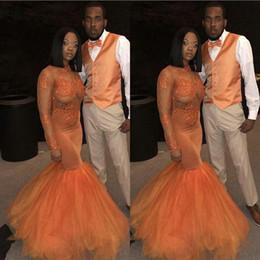 Vestiti tull online-African Dust Orange 2019 Prom Dresses a sirena maniche lunghe in pizzo Applique bordare Tull Illusion collo alto abito da sera formale abiti del partito