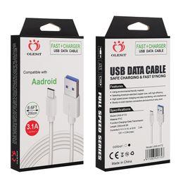 Olesit 2M 6.6ft 3M 10FT 3.1A Schnellladegerät Micro-USB-Kabel Datentyp-c-Kabel für Samsung Baseus mit Kleinkasten von Fabrikanten