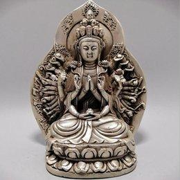 Ornamento de mão de buda on-line-Atacado Branco cobre revestido de prata Mãos Mil Avalokitesvara Backlight Ornaments a coleção Buddha