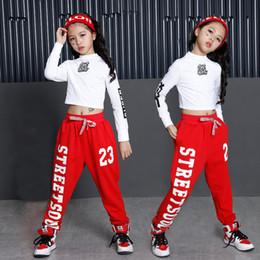 Sudaderas de baile online-Hip Hop Trajes de baile de jazz para niñas Pantalones de baile de salón Sudadera holgada Camisa superior Basculador Ropa de baile Traje de escenario