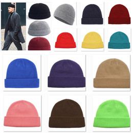 Casquettes de marin en Ligne-Fashion Knitted Hat Men Beanie Skullcap High Quality Hat Women Sailor Cap Cuff Brimless Retro Navy Dtyle Beanie Hat HH9-2506