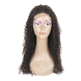Pelo humano largo y ondulado barato online-Caliente Popular peluca de cabello humano Natural suave negro rizado ondulado 360 encaje peluca pelucas largas y baratas con el pelo del bebé vendedor