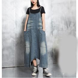 Джинсовый комбинезон с высокой талией онлайн-2019 Spring Summer Women Denim Jumpsuit Loose Fashion Pocket Wide Leg Jumpsuit High Waist Jeans Long Romper