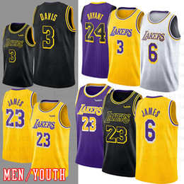 Maillots de kobe en Ligne-Lebron NCAA 23 James Jersey Hommes Anthony 3 Davis enfants Kobe 24 Bryant Kyle 0 Kuzma Basketball Jerseys