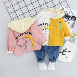 Deutschland Dinosaurierbaby entspricht Jungenkleidungssatz-Babykleidung mit Kapuze coat + T-Shirt + Jeans 3pcs / set Kleinkindjunge kleidet neugeborene Ausstattungen 0-3t A6593 cheap 3t dinosaur shirt Versorgung