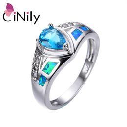 Opala homens prata anel on-line-CiNily Oceano Azul Fire Opal Anéis Largos Com Pedra Banhado A Prata Luxo Grande Gotas Zirconite Presentes Da Jóia Do Vintage Homem Mulher