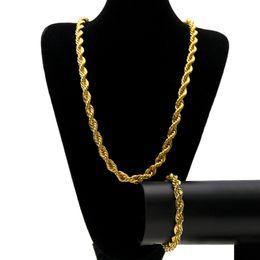 2019 enlace cubano de oro 14k 2pcs / set Mens 14k Gold Silver Twist Cuban Link Chains Collares y Hip Hop Pulseras de joyería de moda enlace cubano de oro 14k baratos