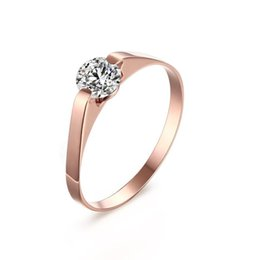 2019 anéis de pedra em ouro para meninas Mulheres # 39s Rose Gold-Color Anel Na Moda Zircon Cúbico Anéis De Noivado De Pedra para A Menina desconto anéis de pedra em ouro para meninas