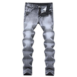 4bf2fbb8233 Men Skinny jeans denim Vintage Casual jeans Smoke Grey Color Straight pants  Vintage Mid Waist high quality Free Shipping