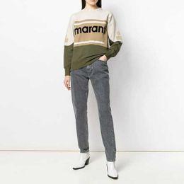 Двубортные рубашки онлайн-Marant Толстовка Color Matching Vintage O-Neck Long Street рукава пуловер Кофта Мода весна-лето свитер рубашка HFHLWY032