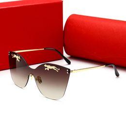 Rote randlose rahmen online-CARTIER 00112 OUTEYE Randlose Sechseck Sonnenbrille Frauen Markendesigner Damen Sonnenbrille Vintage Weibliche Shades Kleinen Rahmen Rote Sonnenbrille